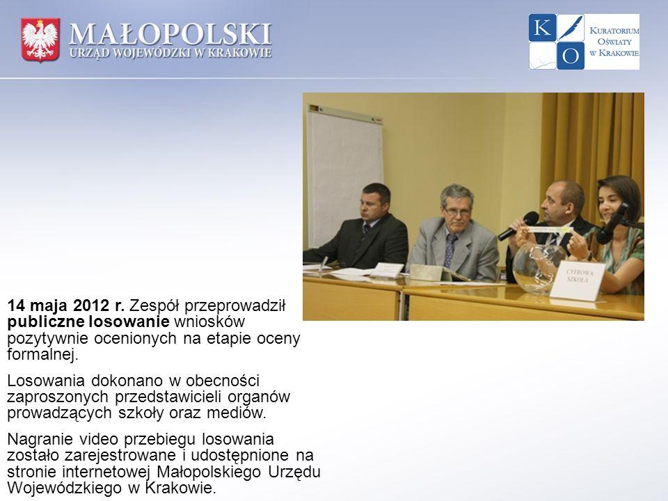 14 maja 2012 r. Zespół przeprowadził publiczne losowanie wniosków pozytywnie ocenionych na etapie oceny formalnej.