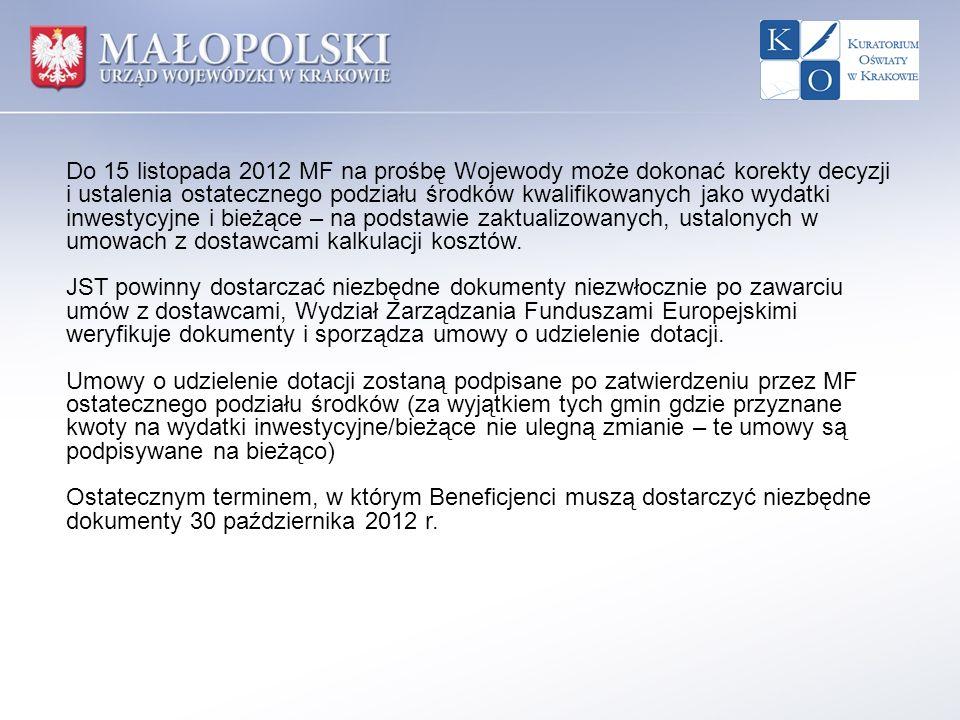 Do 15 listopada 2012 MF na prośbę Wojewody może dokonać korekty decyzji i ustalenia ostatecznego podziału środków kwalifikowanych jako wydatki inwestycyjne i bieżące – na podstawie zaktualizowanych, ustalonych w umowach z dostawcami kalkulacji kosztów.