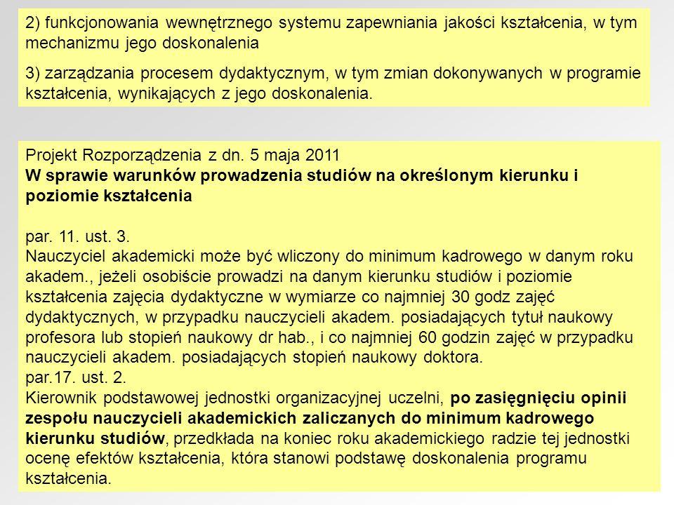 2) funkcjonowania wewnętrznego systemu zapewniania jakości kształcenia, w tym mechanizmu jego doskonalenia