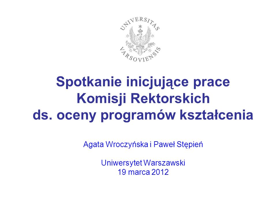 Spotkanie inicjujące prace Komisji Rektorskich ds