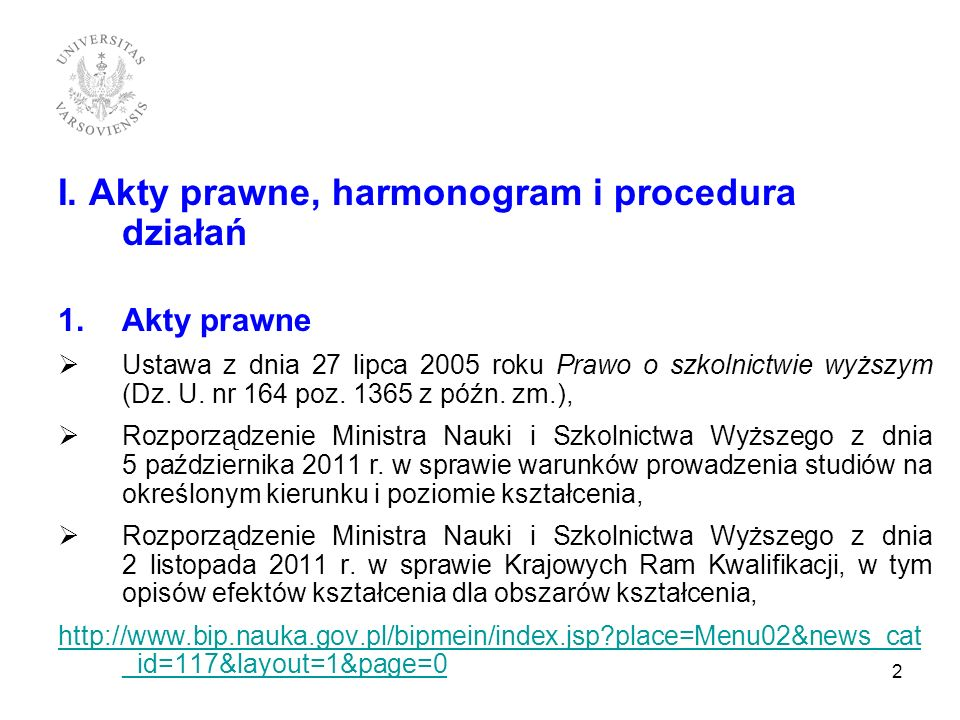 I. Akty prawne, harmonogram i procedura działań