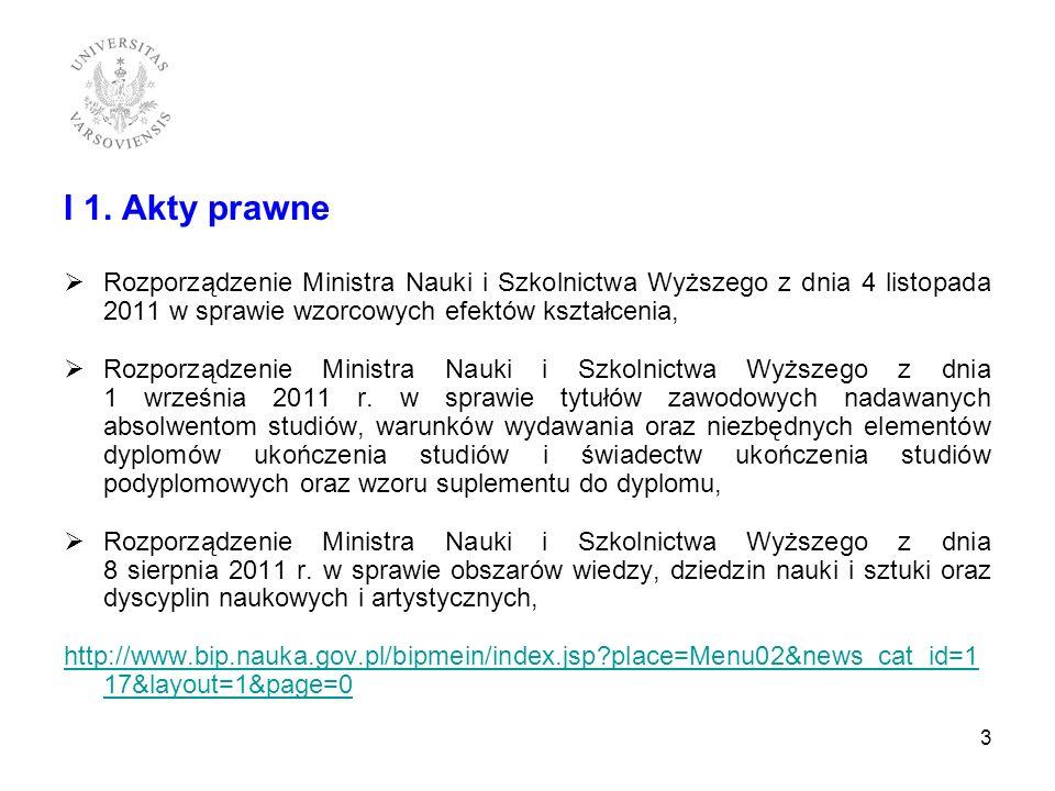 I 1. Akty prawne Rozporządzenie Ministra Nauki i Szkolnictwa Wyższego z dnia 4 listopada 2011 w sprawie wzorcowych efektów kształcenia,
