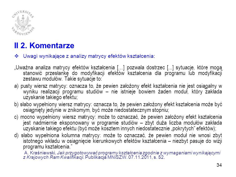 II 2. Komentarze Uwagi wynikające z analizy matrycy efektów kształcenia: