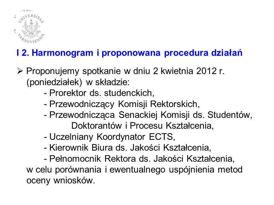 I 2. Harmonogram i proponowana procedura działań