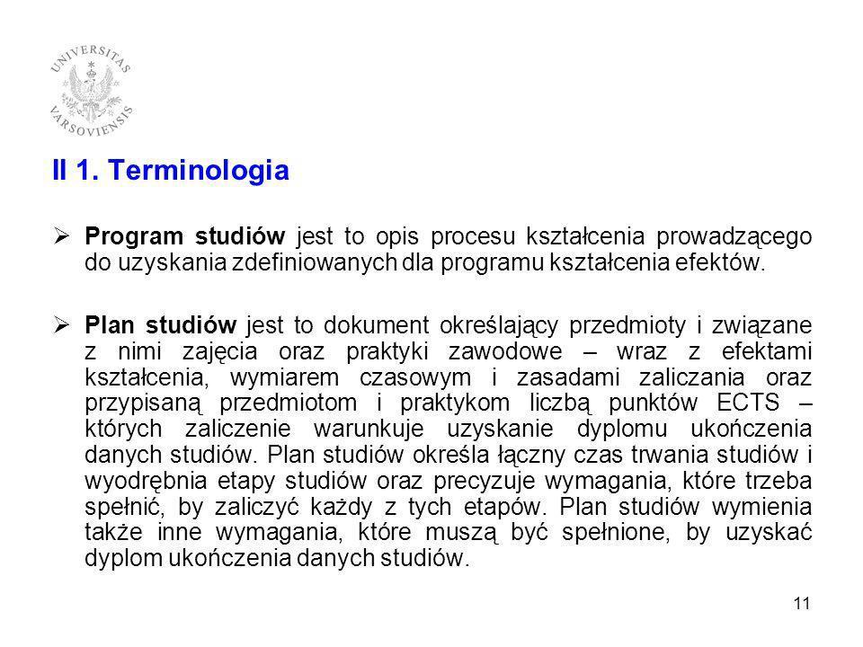 II 1. Terminologia Program studiów jest to opis procesu kształcenia prowadzącego do uzyskania zdefiniowanych dla programu kształcenia efektów.