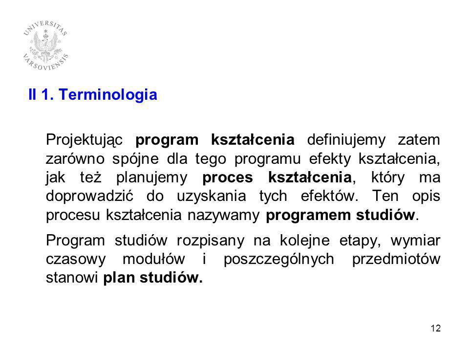 II 1. Terminologia
