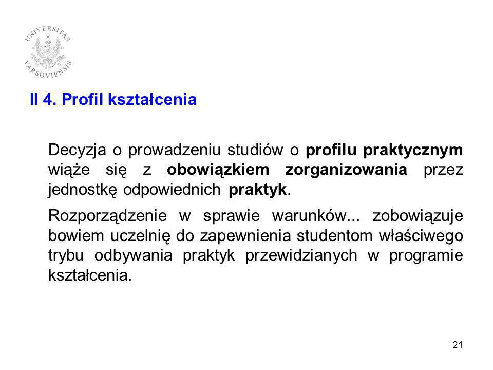 II 4. Profil kształcenia