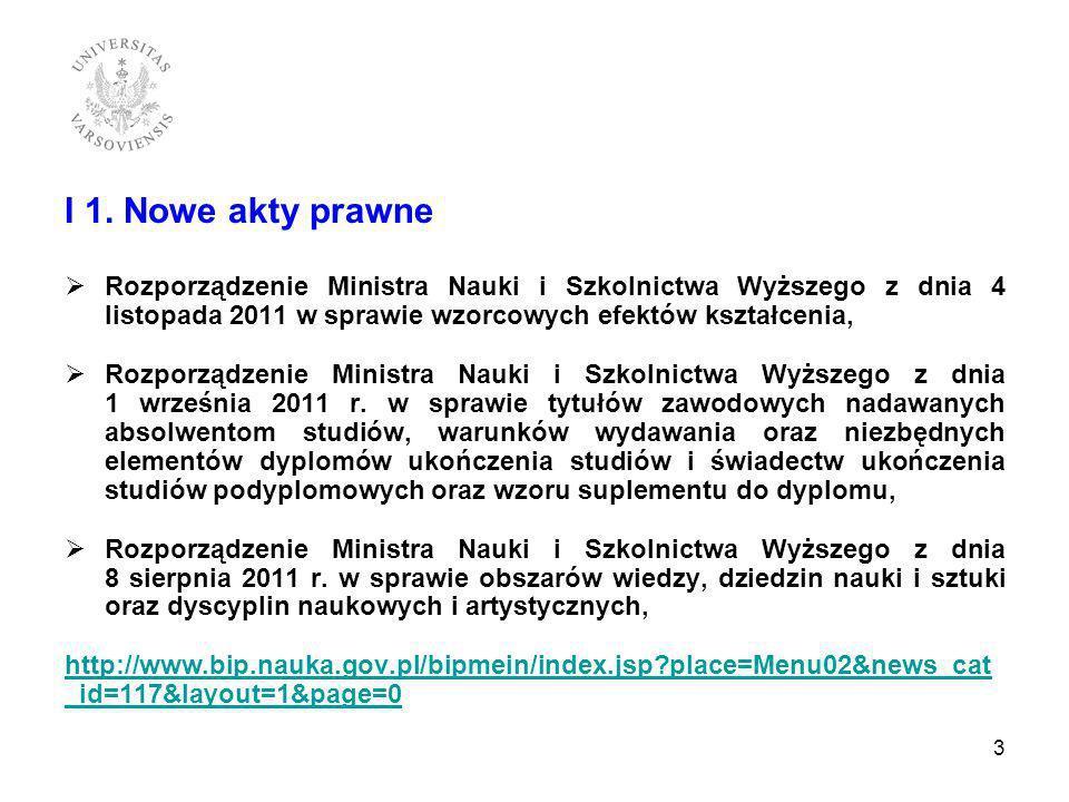 I 1. Nowe akty prawne Rozporządzenie Ministra Nauki i Szkolnictwa Wyższego z dnia 4 listopada 2011 w sprawie wzorcowych efektów kształcenia,