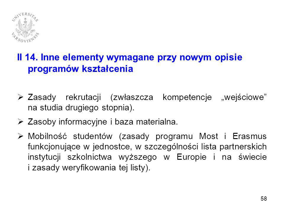 II 14. Inne elementy wymagane przy nowym opisie programów kształcenia