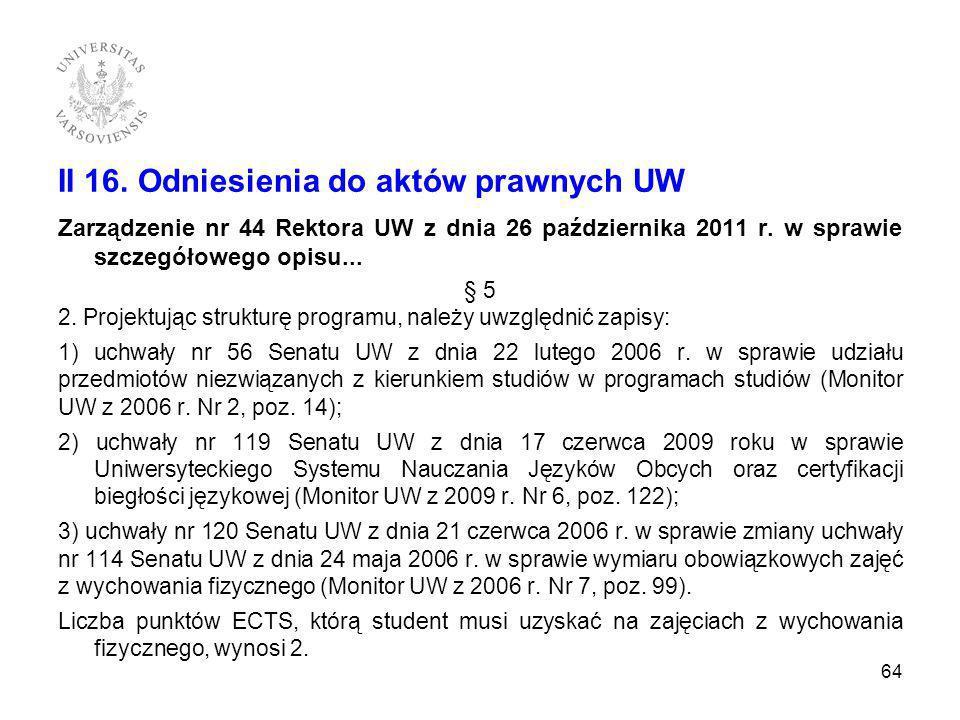 II 16. Odniesienia do aktów prawnych UW