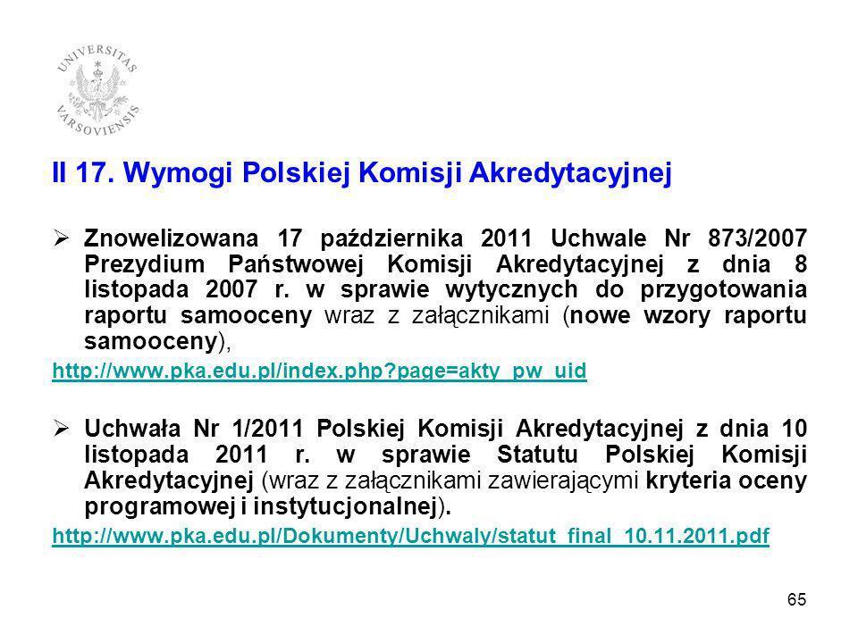II 17. Wymogi Polskiej Komisji Akredytacyjnej