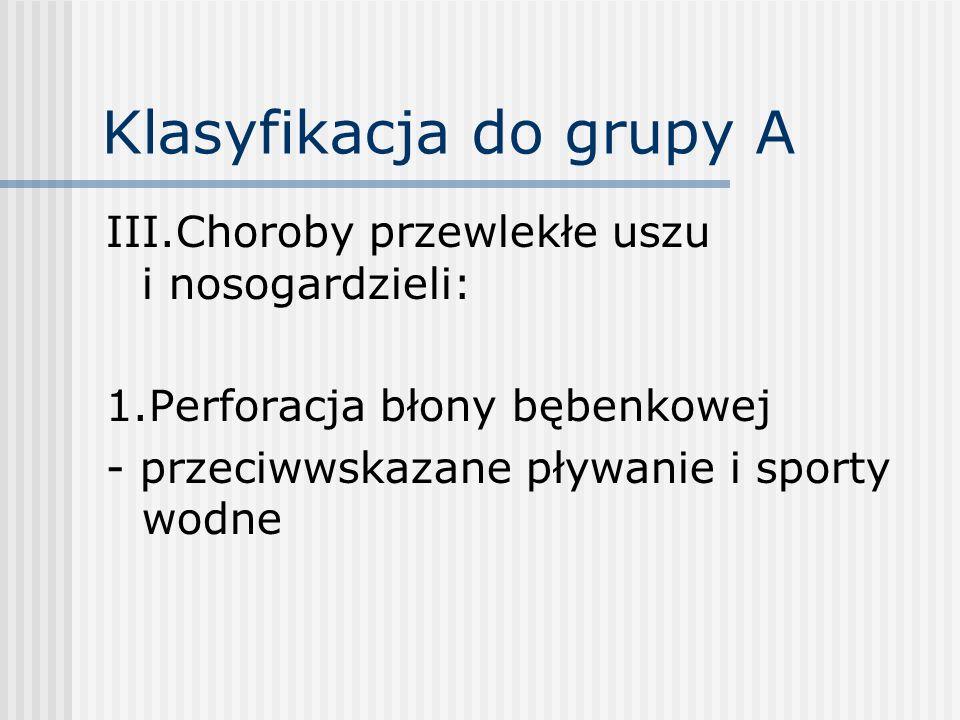 Klasyfikacja do grupy A