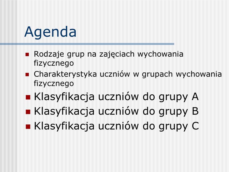 Agenda Klasyfikacja uczniów do grupy A Klasyfikacja uczniów do grupy B