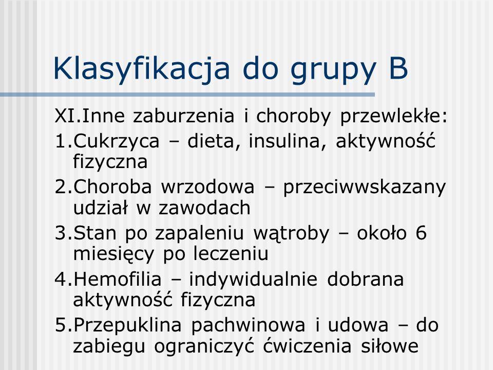 Klasyfikacja do grupy B