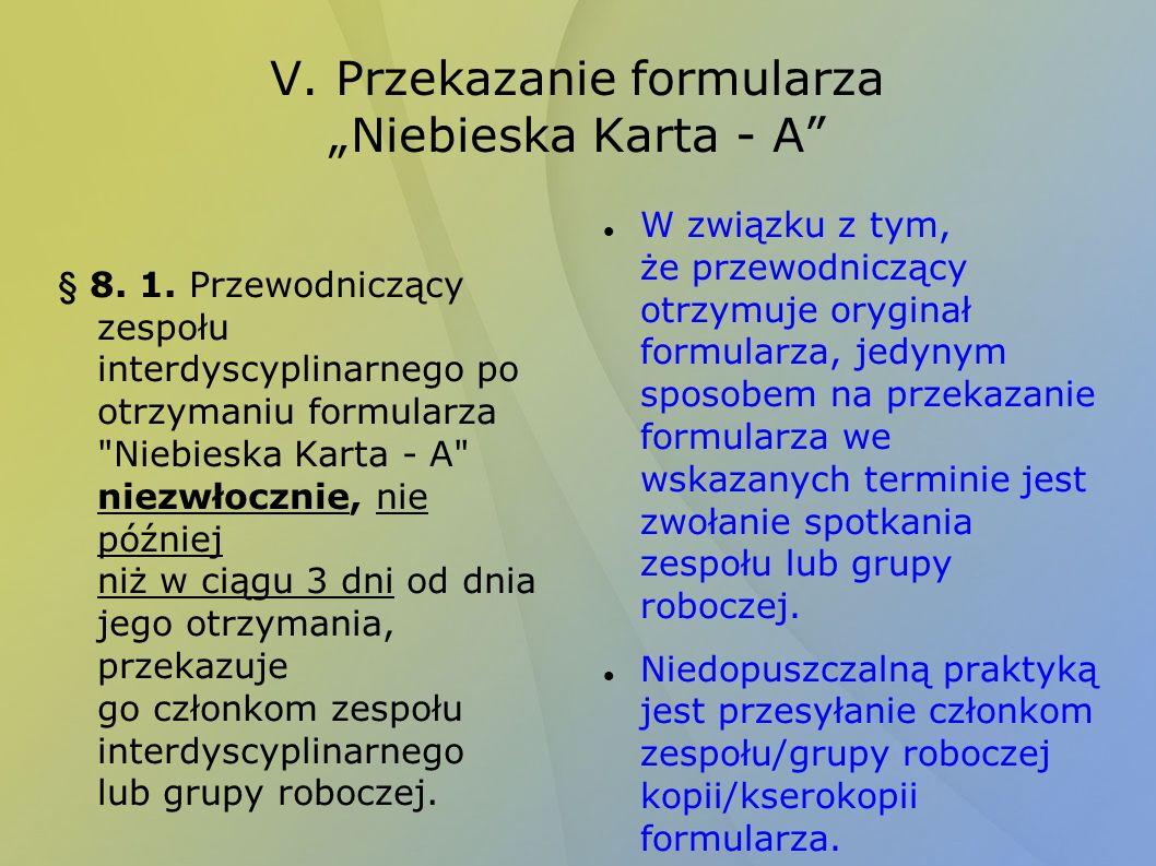 """V. Przekazanie formularza """"Niebieska Karta - A"""