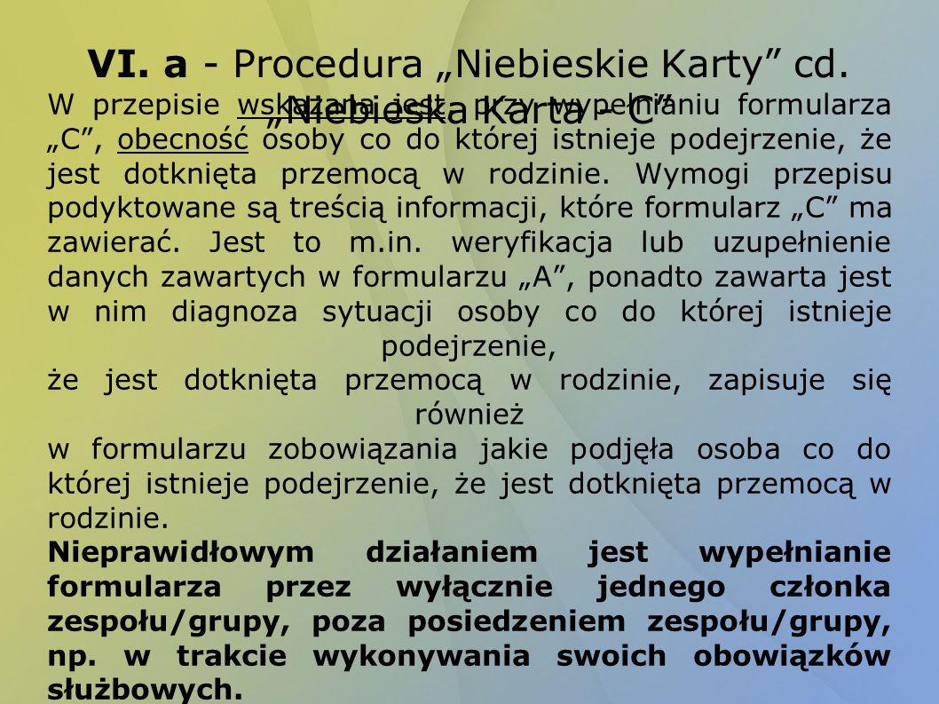 "VI. a - Procedura ""Niebieskie Karty cd. ""Niebieska Karta - C"