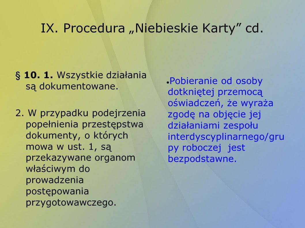 """IX. Procedura """"Niebieskie Karty cd."""