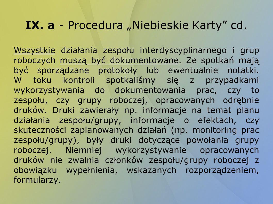 """IX. a - Procedura """"Niebieskie Karty cd."""