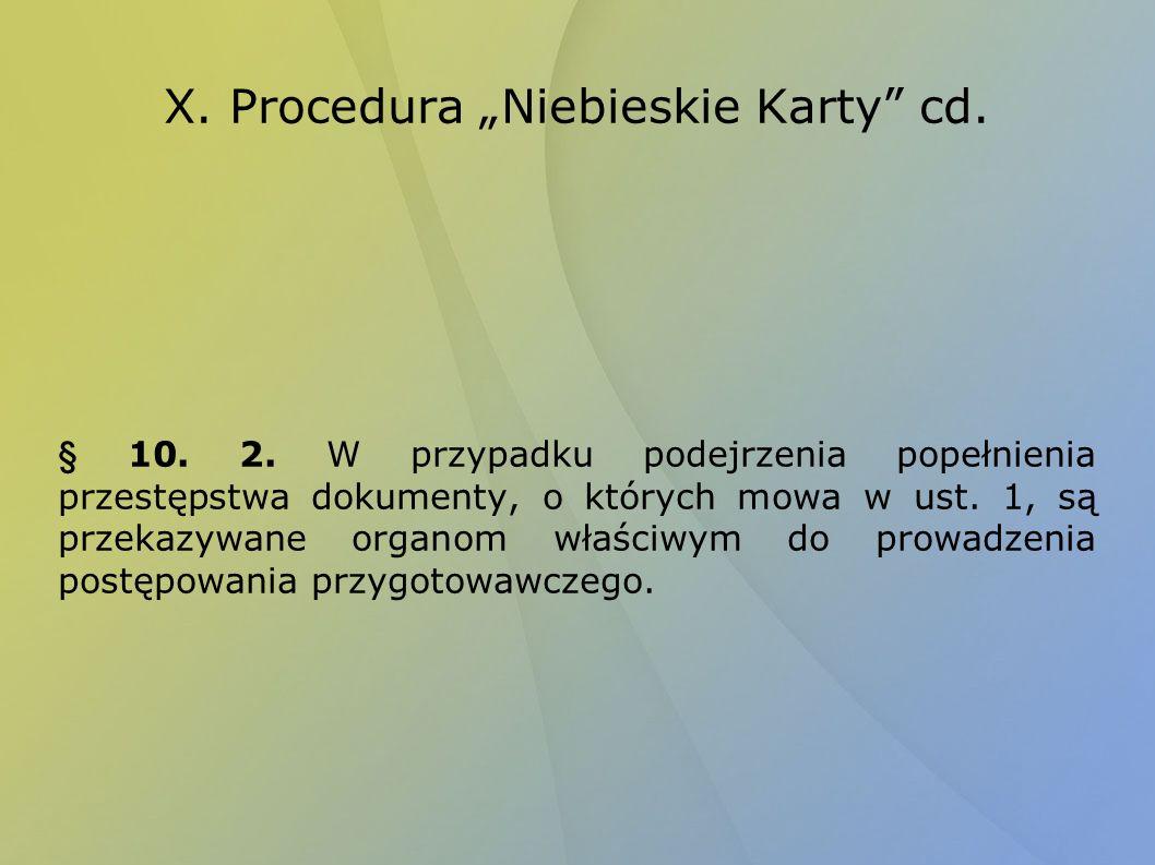 """X. Procedura """"Niebieskie Karty cd."""