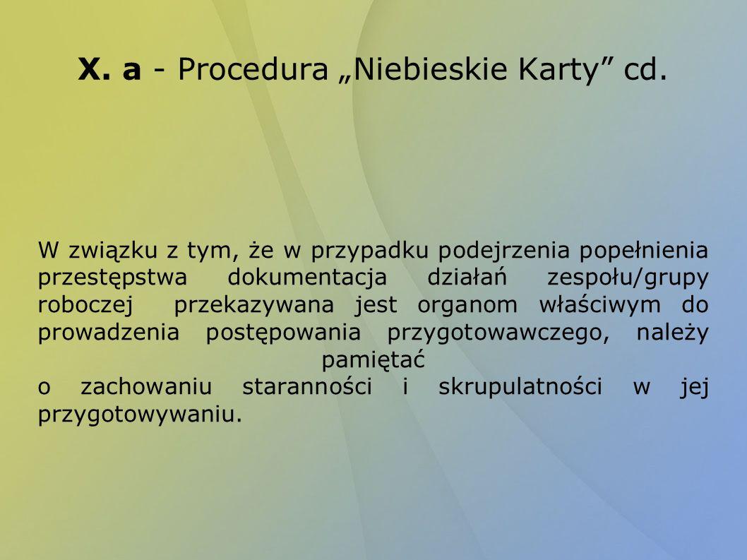 """X. a - Procedura """"Niebieskie Karty cd."""