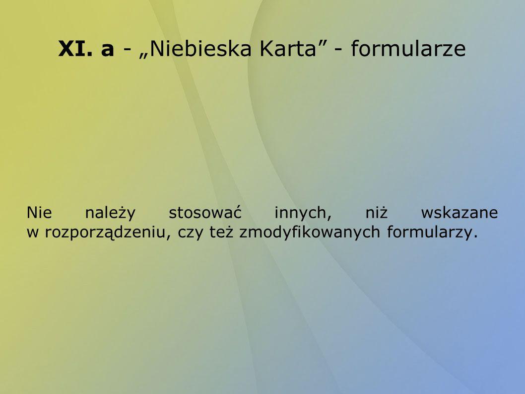 """XI. a - """"Niebieska Karta - formularze"""