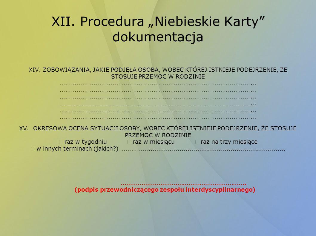 """XII. Procedura """"Niebieskie Karty dokumentacja"""
