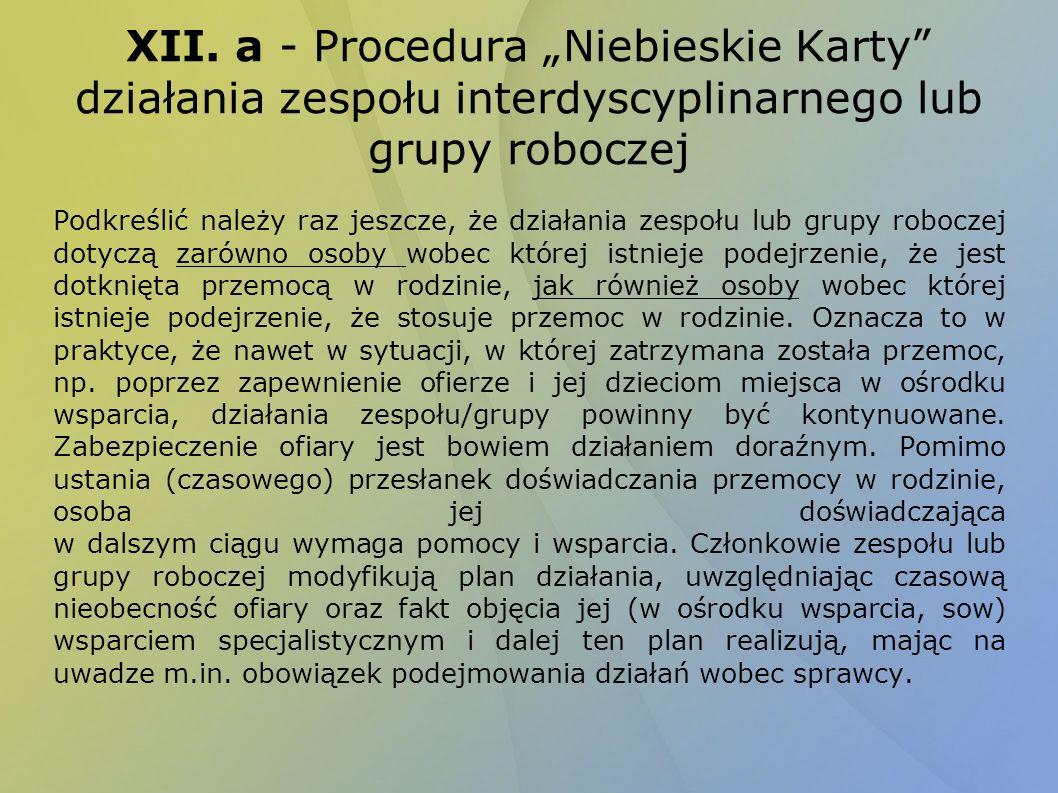 """XII. a - Procedura """"Niebieskie Karty działania zespołu interdyscyplinarnego lub grupy roboczej"""