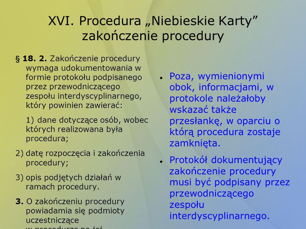"""XVI. Procedura """"Niebieskie Karty zakończenie procedury"""