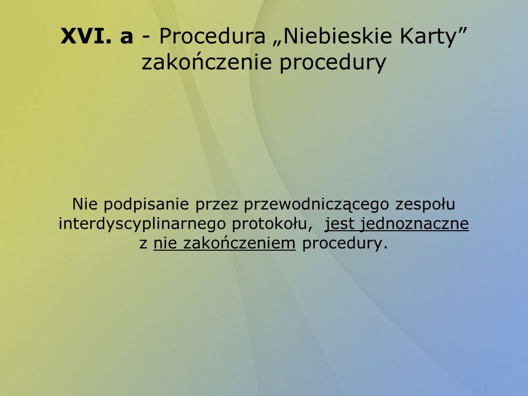 """XVI. a - Procedura """"Niebieskie Karty zakończenie procedury"""