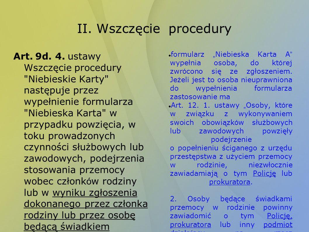 II. Wszczęcie procedury