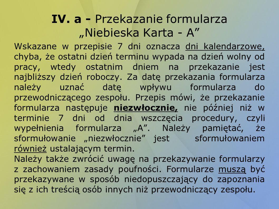 """IV. a - Przekazanie formularza """"Niebieska Karta - A"""