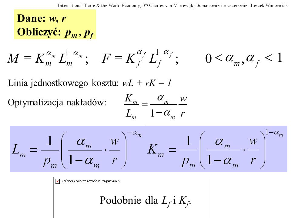 1 , ; < = L K F M a Dane: w, r Obliczyć: pm , pf
