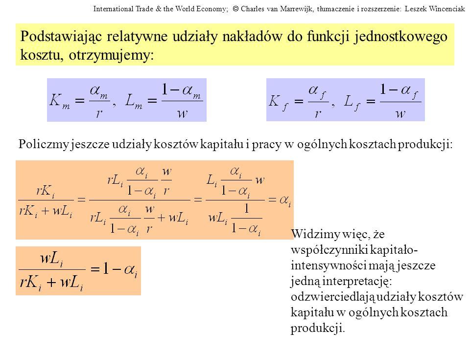Podstawiając relatywne udziały nakładów do funkcji jednostkowego
