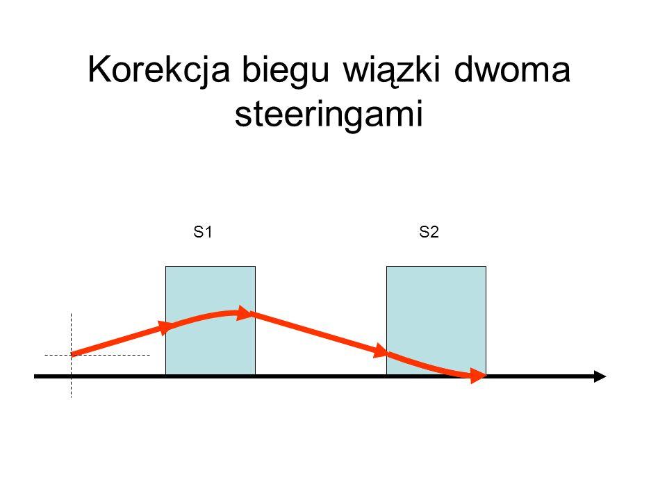 Korekcja biegu wiązki dwoma steeringami