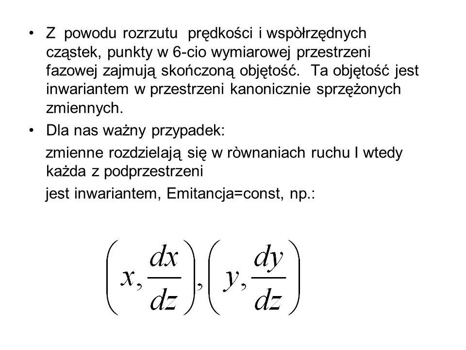 Z powodu rozrzutu prędkości i wspòłrzędnych cząstek, punkty w 6-cio wymiarowej przestrzeni fazowej zajmują skończoną objętość. Ta objętość jest inwariantem w przestrzeni kanonicznie sprzężonych zmiennych.