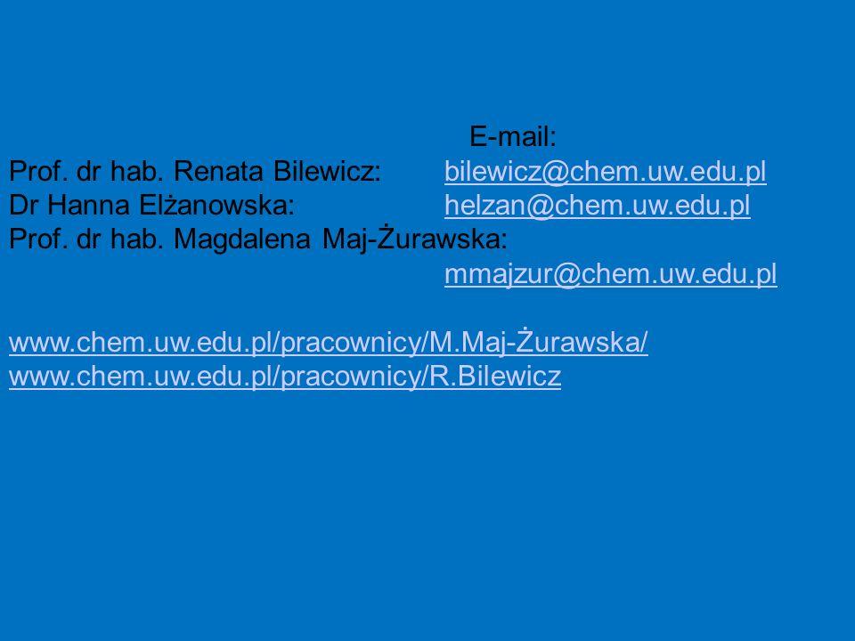 Prof. dr hab. Renata Bilewicz: bilewicz@chem.uw.edu.pl
