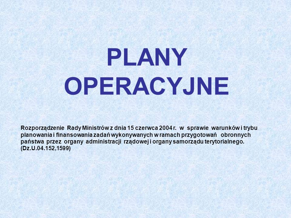 PLANY OPERACYJNE