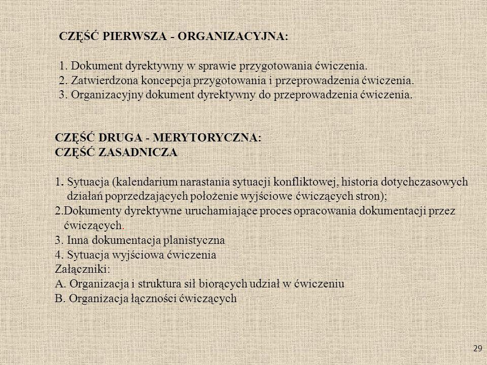 CZĘŚĆ PIERWSZA - ORGANIZACYJNA: 1
