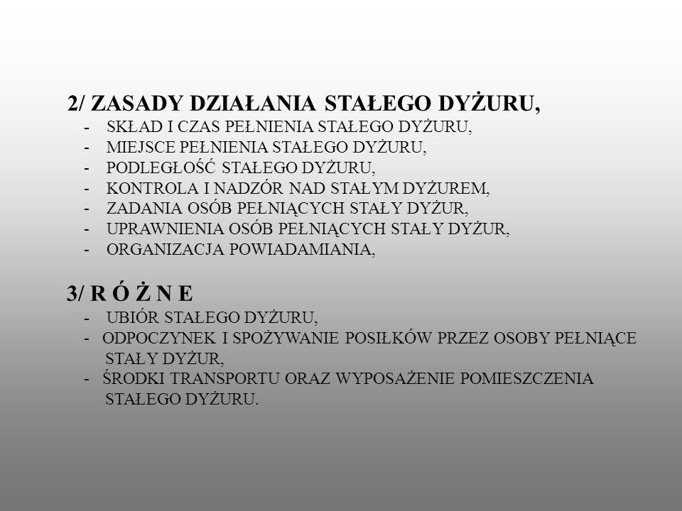 - SKŁAD I CZAS PEŁNIENIA STAŁEGO DYŻURU,