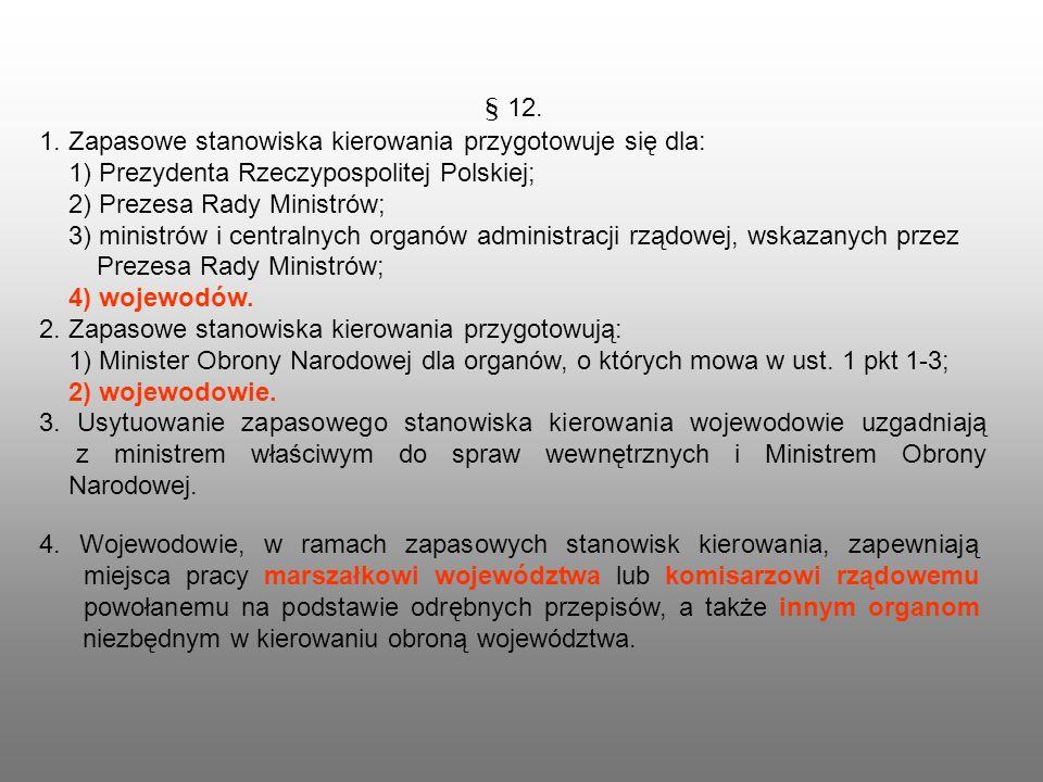 § 12.1. Zapasowe stanowiska kierowania przygotowuje się dla: 1) Prezydenta Rzeczypospolitej Polskiej;