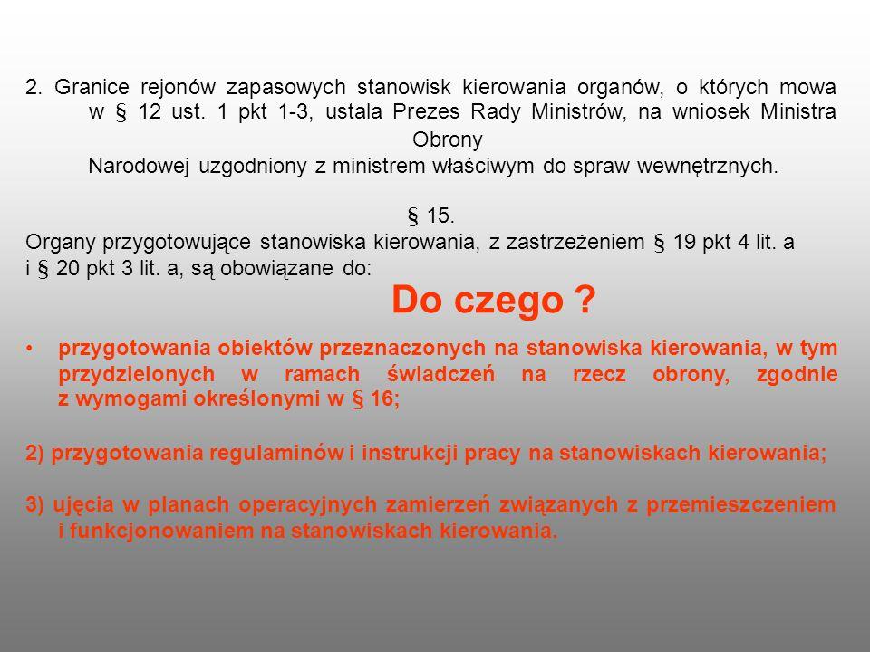 2. Granice rejonów zapasowych stanowisk kierowania organów, o których mowa w § 12 ust. 1 pkt 1-3, ustala Prezes Rady Ministrów, na wniosek Ministra Obrony Narodowej uzgodniony z ministrem właściwym do spraw wewnętrznych.