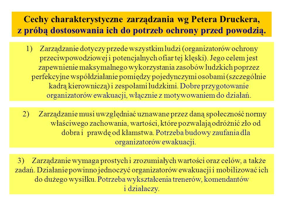 Cechy charakterystyczne zarządzania wg Petera Druckera, z próbą dostosowania ich do potrzeb ochrony przed powodzią.