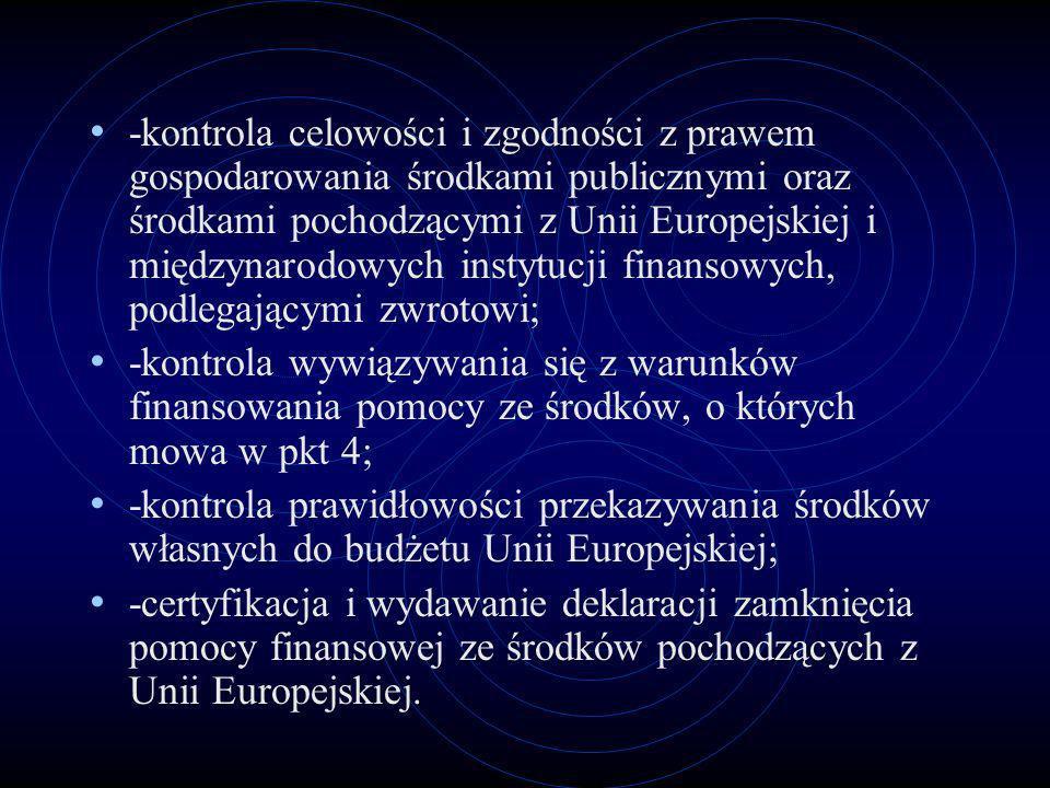 -kontrola celowości i zgodności z prawem gospodarowania środkami publicznymi oraz środkami pochodzącymi z Unii Europejskiej i międzynarodowych instytucji finansowych, podlegającymi zwrotowi;