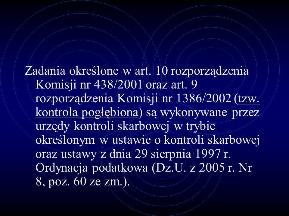 Zadania określone w art. 10 rozporządzenia Komisji nr 438/2001 oraz art.