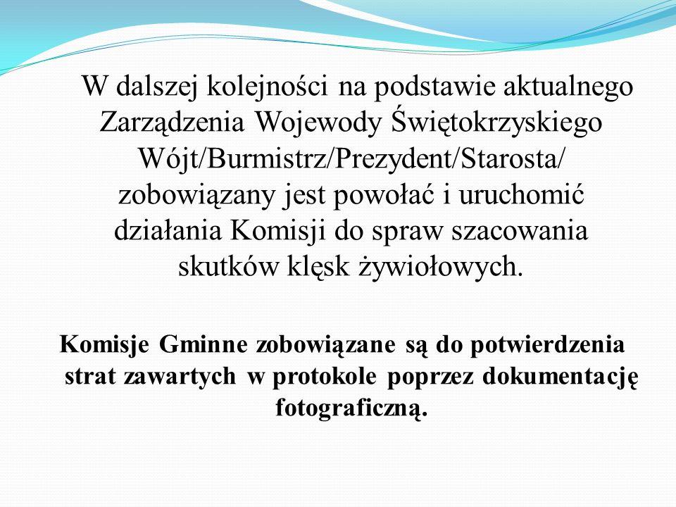 W dalszej kolejności na podstawie aktualnego Zarządzenia Wojewody Świętokrzyskiego Wójt/Burmistrz/Prezydent/Starosta/ zobowiązany jest powołać i uruchomić działania Komisji do spraw szacowania skutków klęsk żywiołowych.