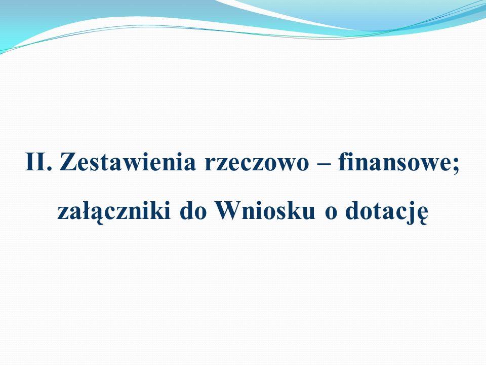 II. Zestawienia rzeczowo – finansowe; załączniki do Wniosku o dotację
