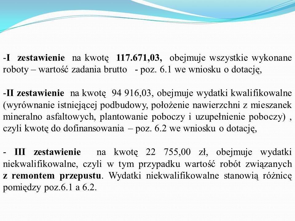 I zestawienie na kwotę 117.671,03, obejmuje wszystkie wykonane roboty – wartość zadania brutto - poz. 6.1 we wniosku o dotację,