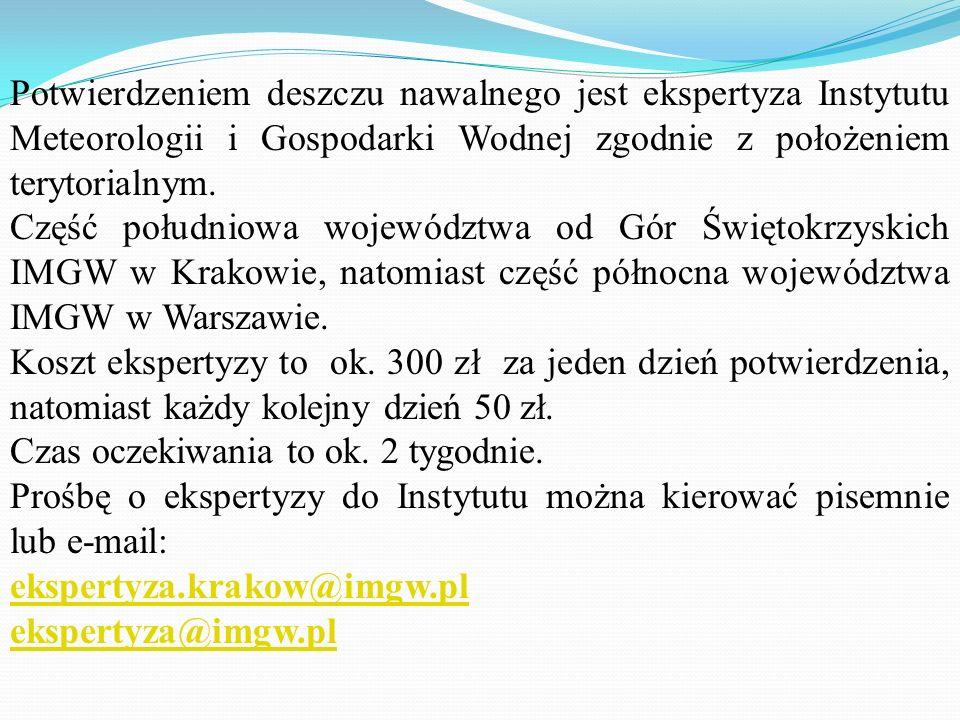 Potwierdzeniem deszczu nawalnego jest ekspertyza Instytutu Meteorologii i Gospodarki Wodnej zgodnie z położeniem terytorialnym.