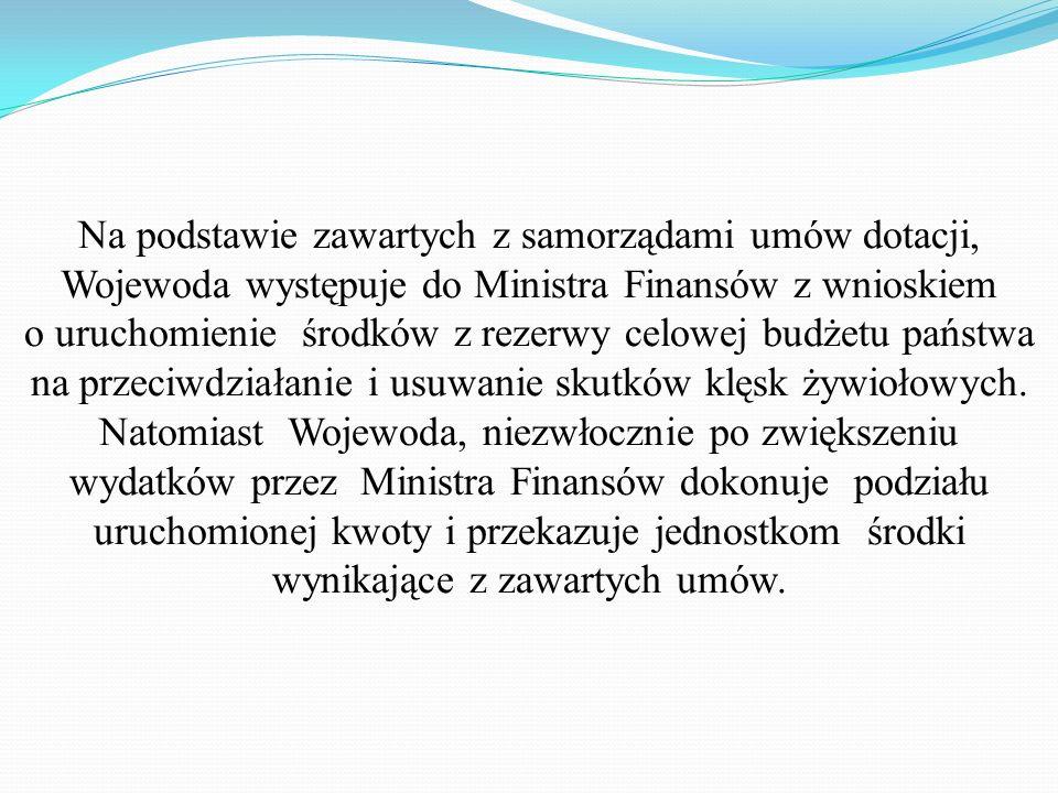Na podstawie zawartych z samorządami umów dotacji, Wojewoda występuje do Ministra Finansów z wnioskiem o uruchomienie środków z rezerwy celowej budżetu państwa na przeciwdziałanie i usuwanie skutków klęsk żywiołowych.