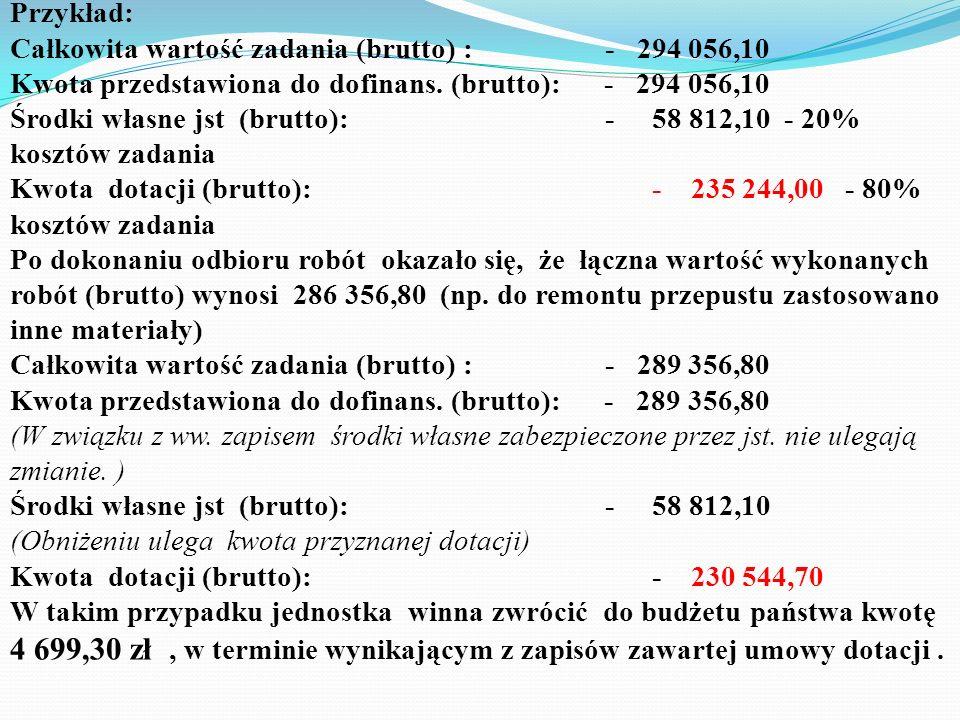 Przykład:Całkowita wartość zadania (brutto) : - 294 056,10. Kwota przedstawiona do dofinans. (brutto): - 294 056,10.